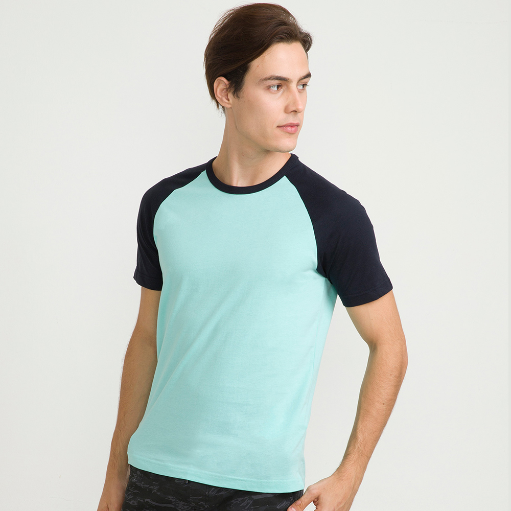 bossini男裝-牛角袖純棉圓領T恤粉藍