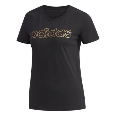 adidas 短袖上衣 健身 慢跑 運動 休閒 女款 黑 FL0164 W E BRANDED T