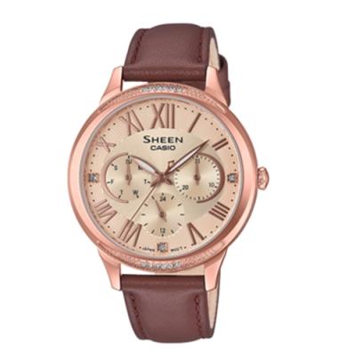 CASIO卡西歐 迷人風采數字時刻皮革女腕錶(SHE-3058PGL-9A)-粉x36mm