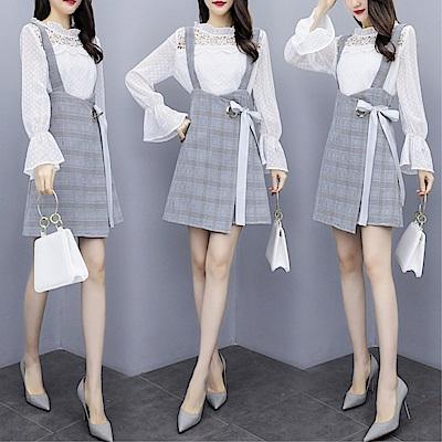 DABI 韓系蕾絲喇叭袖蝴蝶結格紋套裝長袖裙裝