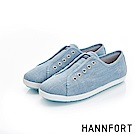 HANNFORT CALIFORNIA無綁帶氣墊帆布鞋-女-海水藍