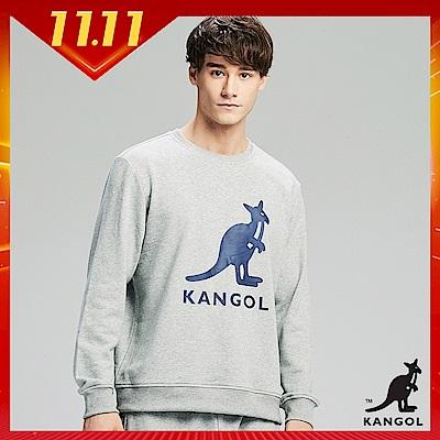 【KANGOL】大LOGO設計圓領上衣/大學T-男-麻灰