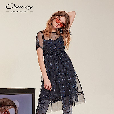 OUWEY歐薇 星空印花兩件式長洋裝(藍)