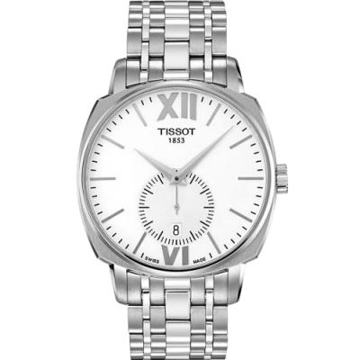 TISSOT T-Lord 復刻羅馬小秒針腕錶-白x銀/40mm T0595281101800