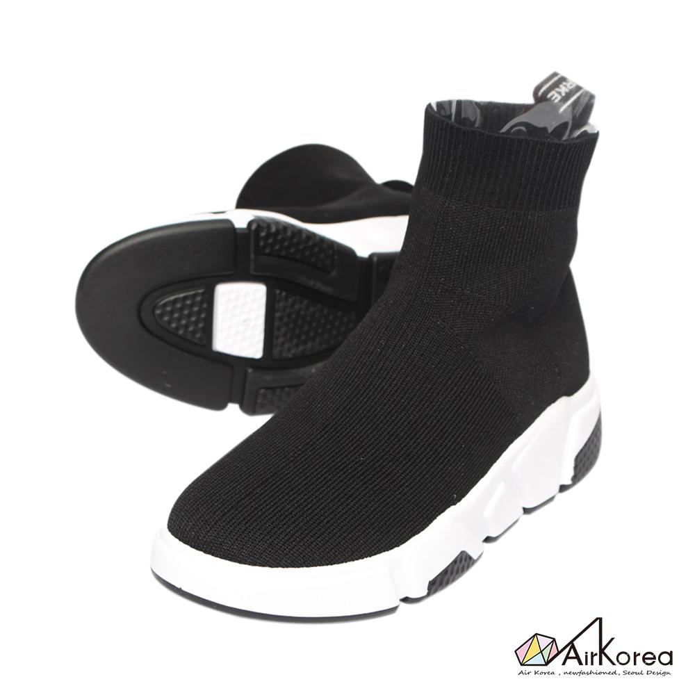 【AIRKOREA韓國空運】簡約流行針織增高襪靴-兩色