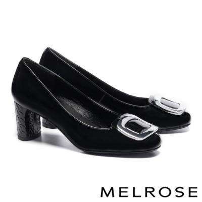 高跟鞋 MELROSE 知性方型金屬釦飾牛皮方頭高跟鞋-黑