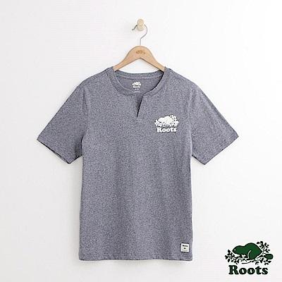 Roots-男裝-開襟庫柏海狸短袖T恤-藍色