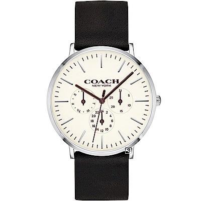 COACH Thompson 帥氣三眼時尚手錶(14602387)-白/41mm