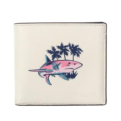 COACH白色全皮鯊魚圖印八卡雙摺對開男夾