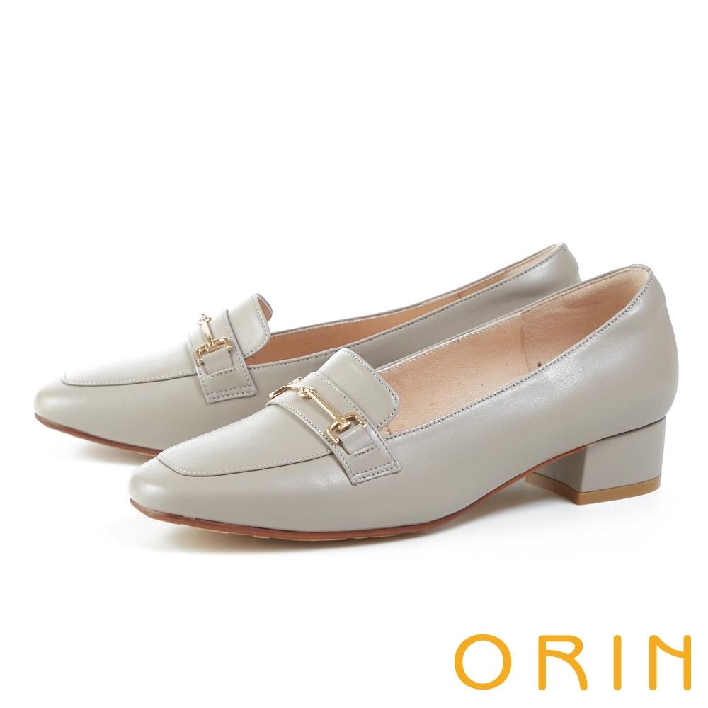 ORIN 氣質馬銜釦真皮低跟 女 樂福鞋 灰色