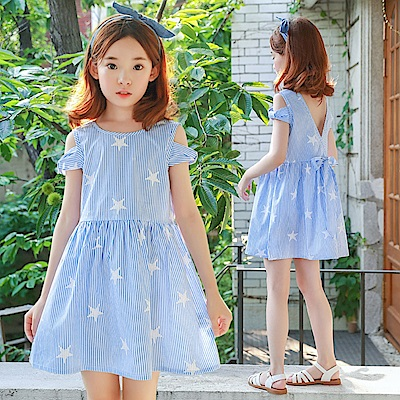 小衣衫童裝  中大童夏裝藍色條紋星星洋裝1070361