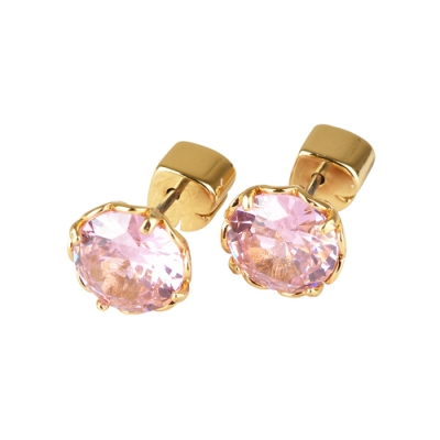 kate spade The Sparkle黑桃LOGO圓形設計鑽鑲飾穿式耳環(金x粉紅)