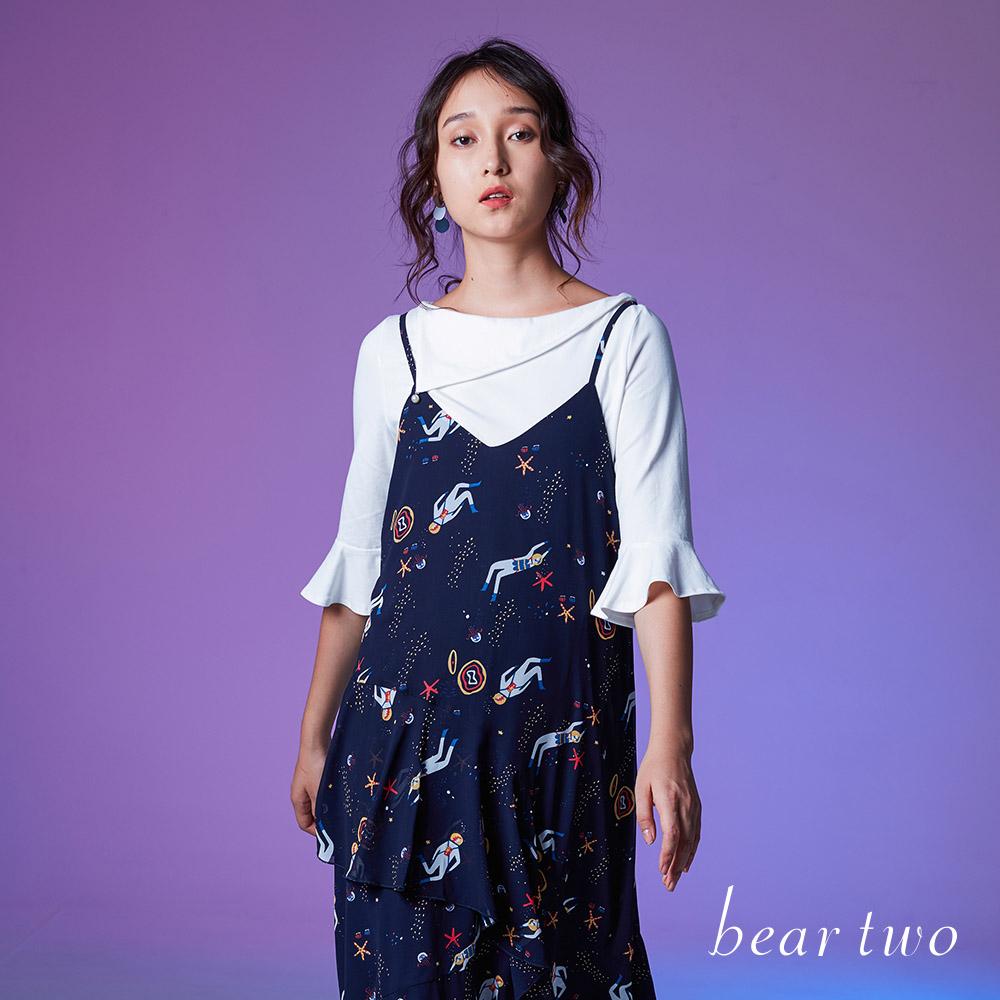 beartwo 珍珠翻領五分袖造型上衣(兩色)