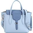 TOD'S New Joy Bag T釦撞色牛皮手提肩背包(藍色系)