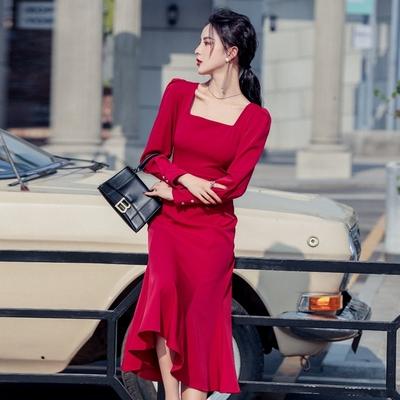 法式復古紅色修身包臀魚尾連身裙S-XL-Sexy Devil