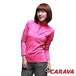 CARAVA 女款排汗長T 恤(玫紅)