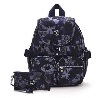 B.S.D.S冰山袋鼠-楓糖瑪芝x經典大容量時尚後背包+零錢包2件組 - 花繪風