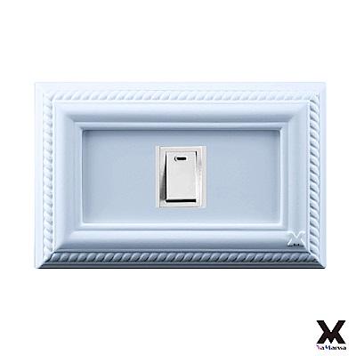 VaMarssa四方匯財冷漿陶瓷單孔插座開關蓋卡準式-藍