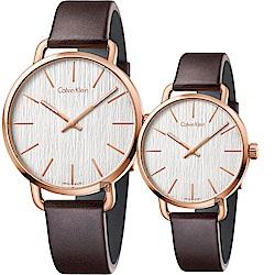 Calvin Klein CK Even 木質情侶手錶 對錶-銀x玫瑰金框