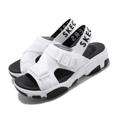 Skechers 涼拖鞋 Daddy-O-Dibs 女鞋 厚底 增高 鬆緊帶 夏日 穿搭 透氣 白 黑 163051WBK