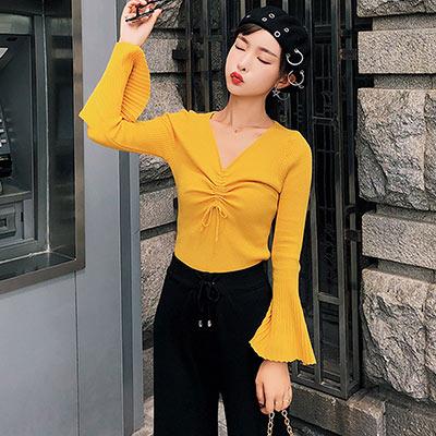 V領抽繩喇叭袖坑條針織衫 (共七色)-Kugi Girl