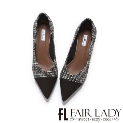 FAIR LADY 優雅小姐尖頭異材質拼接粗跟鞋 黑毛呢
