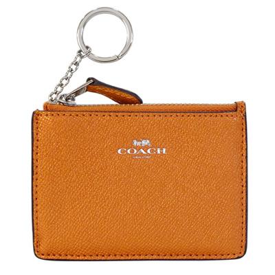 COACH金屬橘防刮皮革後卡夾鑰匙零錢包