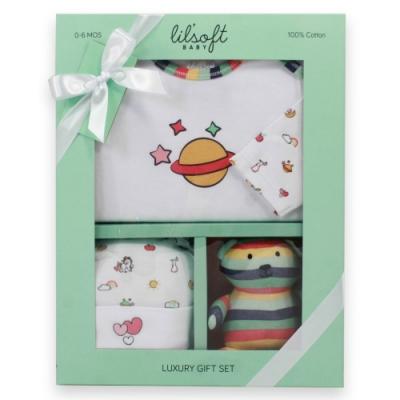美國Elegant kids-彩色小星球3件式彌月禮盒