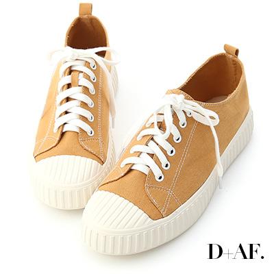 D+AF 玩色趣味.多色帆布休閒餅乾鞋*黃