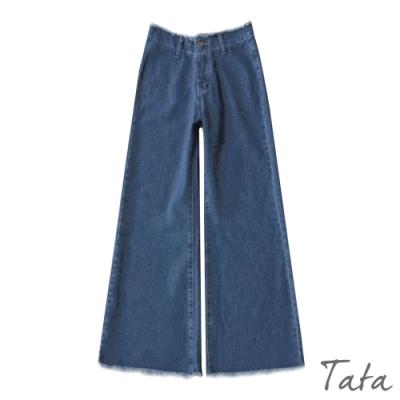 抽鬚喇叭牛仔寬褲 TATA-(S/M)