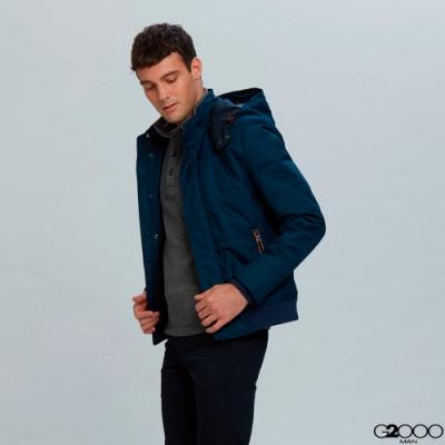 防潑水連帽休閒外套-藍色