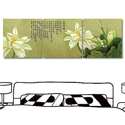 123點點貼三聯式無框畫壁貼蓮花壁貼-愛蓮說30x30cm