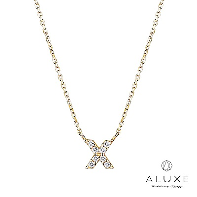 A-LUXE 亞立詩 Alphabet系列10K鑽石項鍊-X
