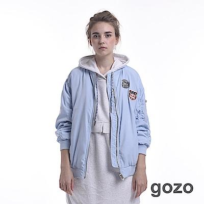 gozo 造型貼布徽章飛行外套(淺藍)