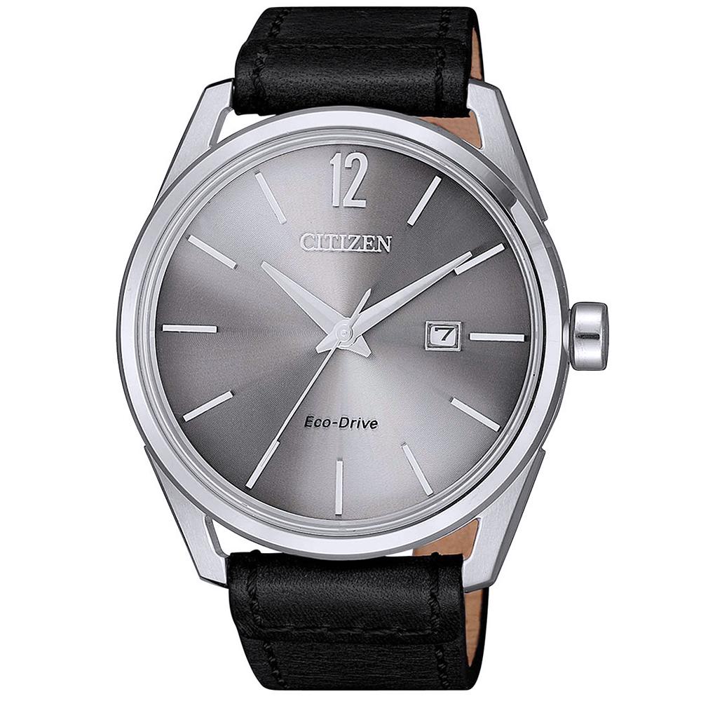 CITIZEN 星辰光動能典藏時尚真皮手錶(BM7411-16A)-灰X黑/42mm