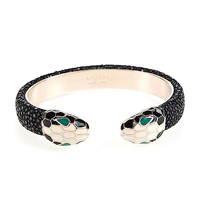 BVLGARI 寶格麗 Serpenti系琺瑯雙蛇頭珍珠魚皮手環 (黑色/M)