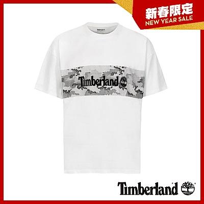 Timberland 男款白色品牌圖案短袖T恤|A1XRM