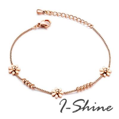 I-Shine-西德鋼-花中緣-可愛花朵串珠造型玫瑰金鈦鋼手鍊AG61
