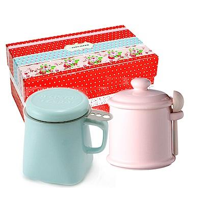 ZERO JAPAN 陶瓷儲物罐(桃子粉)+泡茶馬克杯(湖水藍)超值禮盒組