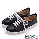 MAGY 樂活休閒 質感素面牛皮綁帶休閒鞋-黑色