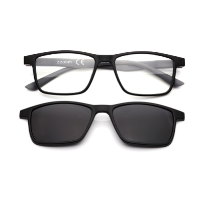 【 Z·ZOOM 】老花眼鏡 磁吸太陽眼鏡系列 知性矩形細框款(黑框灰身)