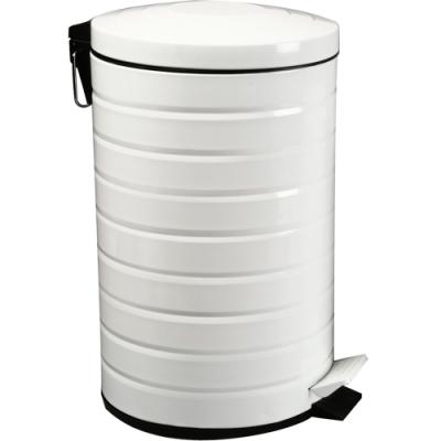 《VERSA》腳踏式垃圾桶(環紋白12L)