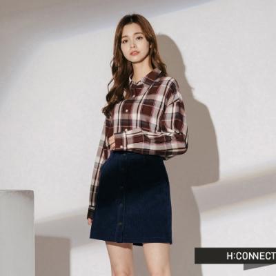 H:CONNECT 韓國品牌 女裝-復古配色格紋襯衫-藍