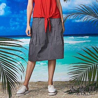 【麥雪爾】棉質條紋立體口袋花苞裙