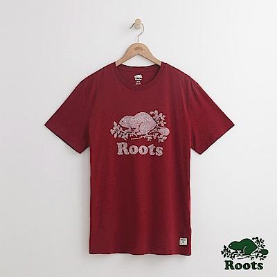 Roots 男裝-前胸庫柏海狸短袖T恤-紅色