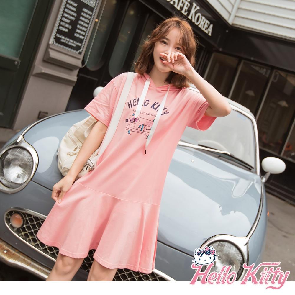 夏日Kitty印圖高含棉荷葉裙帽T洋裝-OB嚴選