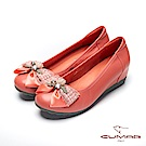 【CUMAR】文藝羅浮宮-多層次蝴蝶結裝飾內增高娃娃鞋-柑