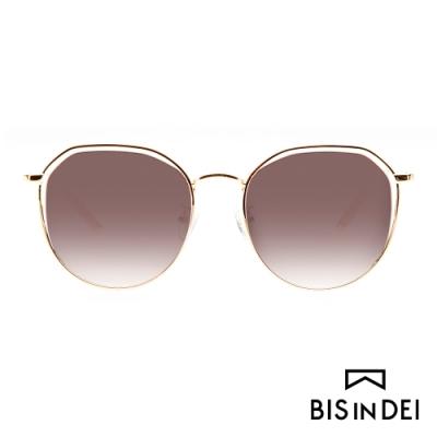 BIS IN DEI 簡約中性鏤空框太陽眼鏡-棕