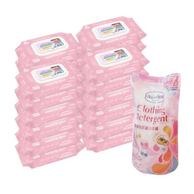 貝比Q EDI超厚超純水柔濕巾/80抽x24包/箱/無香料+貝恩嬰兒抗菌洗衣精補充包800ML(單包)