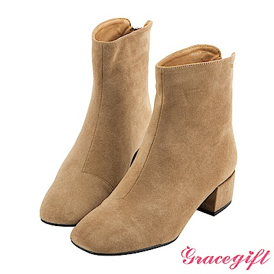 Grace gift-後拉鍊方頭絨布短靴 杏